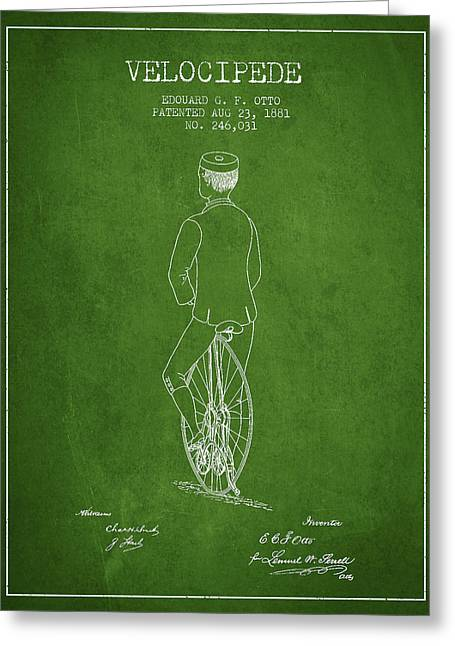 Vintage Bicycle Greeting Cards - Velocipede Patent Drawing from 1881 - Green Greeting Card by Aged Pixel