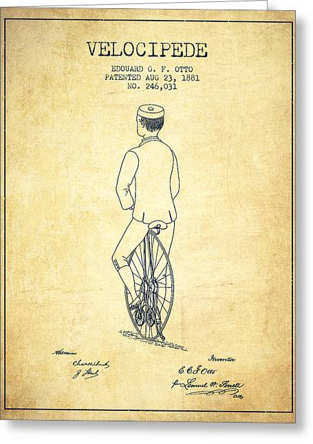 Velocipede Patent Drawing From 1881 - Vintage Greeting Card by Aged Pixel