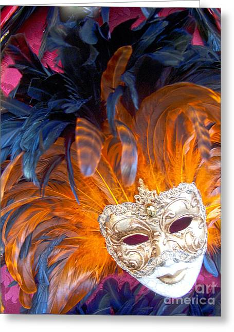 Outfit Greeting Cards - Venetian Face Mask Greeting Card by Heiko Koehrer-Wagner