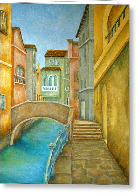 Red Buildings Mixed Media Greeting Cards - Venezia Greeting Card by Pamela Allegretto