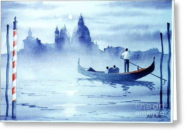 Gondolier Greeting Cards - Venice By Moonlight Greeting Card by Bill Holkham