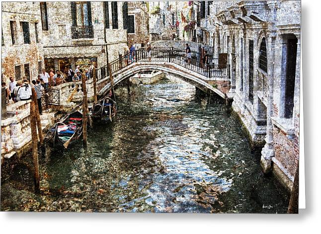 Gondolier Greeting Cards - Venice Canal Greeting Card by Madeline Ellis
