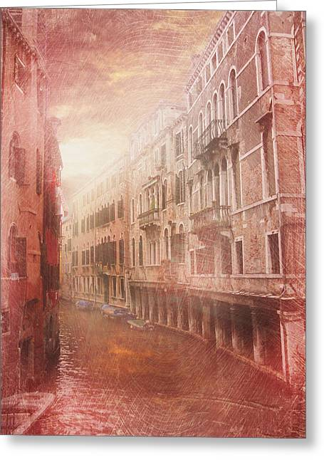 Evening Scenes Greeting Cards - Venice canal Greeting Card by Toma Bonciu