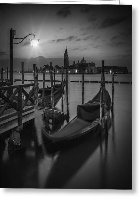 Night Lamp Greeting Cards - VENICE Gondolas in black and white Greeting Card by Melanie Viola