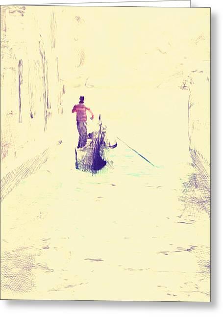 Gondolier Greeting Cards - Venice Gondolier Greeting Card by Yury Malkov