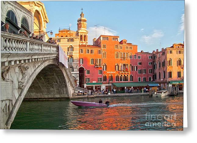 Water Vessels Greeting Cards - Venice Rialto Bridge Greeting Card by Heiko Koehrer-Wagner