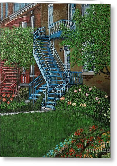 City Of Montreal Paintings Greeting Cards - Verdun Stairs Greeting Card by Reb Frost