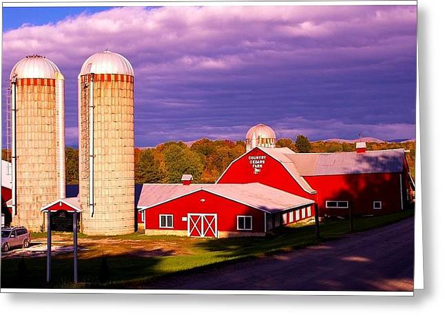 Charlotte Vermont Greeting Cards - Vermont Dairy Farm. Greeting Card by Stan Amster