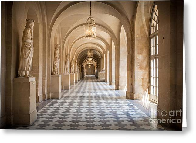 Wall Art Sculptures Greeting Cards - Versailles Hallway Greeting Card by Inge Johnsson