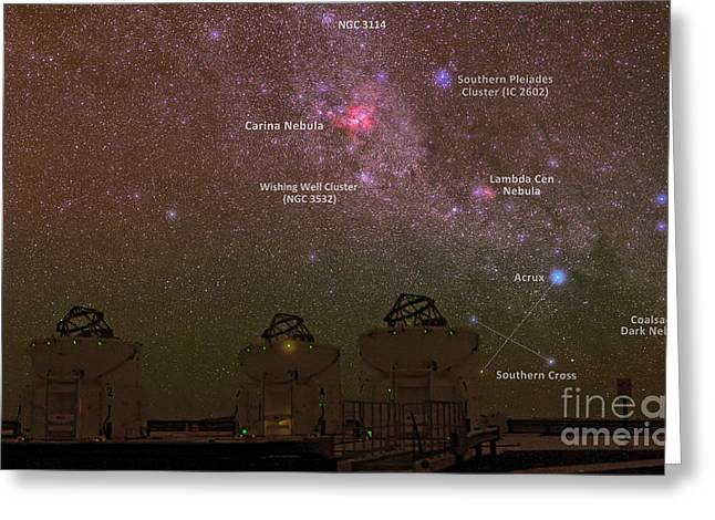 Wishes Greeting Cards - Very Large Telescope Vlt, Cerro Greeting Card by Babak Tafreshi