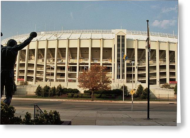 Veterans Stadium Greeting Cards - Veterans Stadium Greeting Card by Joseph Perno