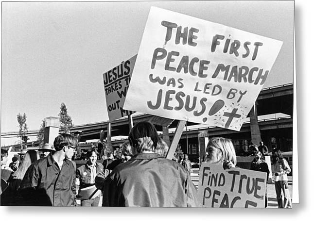 Vietnam War Protesters Greeting Card by Underwood Archives Adler