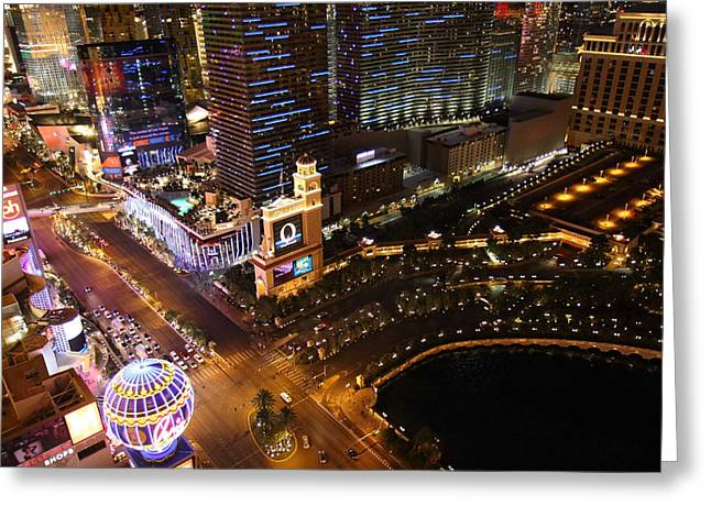 Tower Greeting Cards - View from Eiffel Tower in Las Vegas - 01132 Greeting Card by DC Photographer