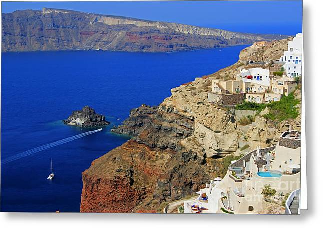 Thirasia Greeting Cards - View from Oia Greeting Card by David Birchall