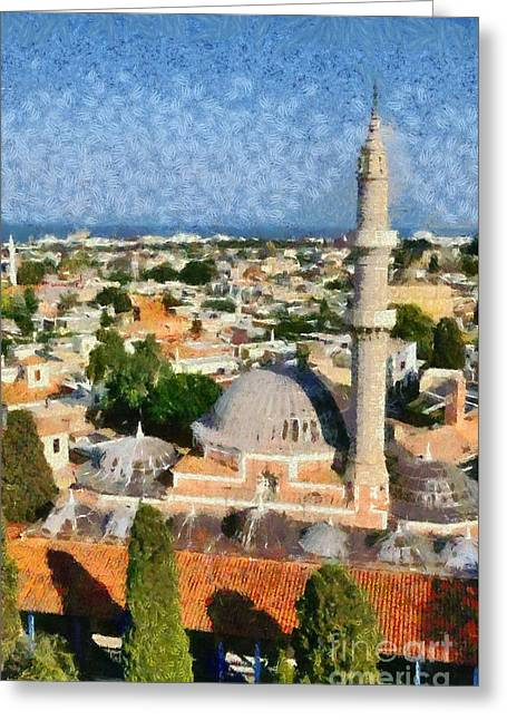Aegean Greeting Cards - View of the old city of Rhodes Greeting Card by George Atsametakis