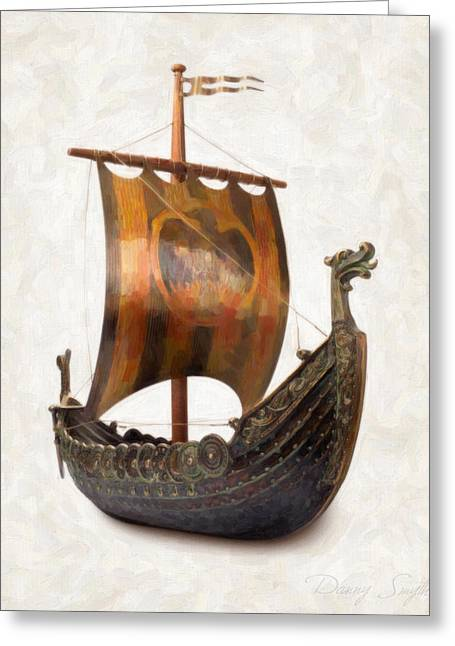 Vikings Paintings Greeting Cards - Viking Ship  Greeting Card by Danny Smythe