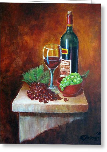 Vino Rosso Greeting Cards - Vino Tinto Greeting Card by Edgar Torres