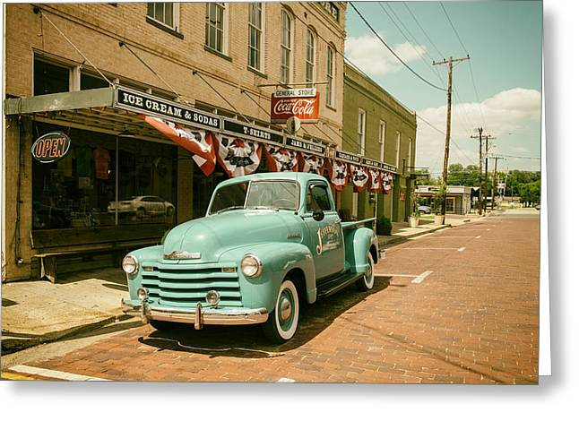 Jefferson Greeting Cards - Vintage 1950s Chevy Pickup in Jefferson Texas Greeting Card by Mountain Dreams