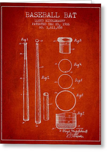 Baseball Glove Greeting Cards - Vintage Baseball Bat Patent from 1926 Greeting Card by Aged Pixel