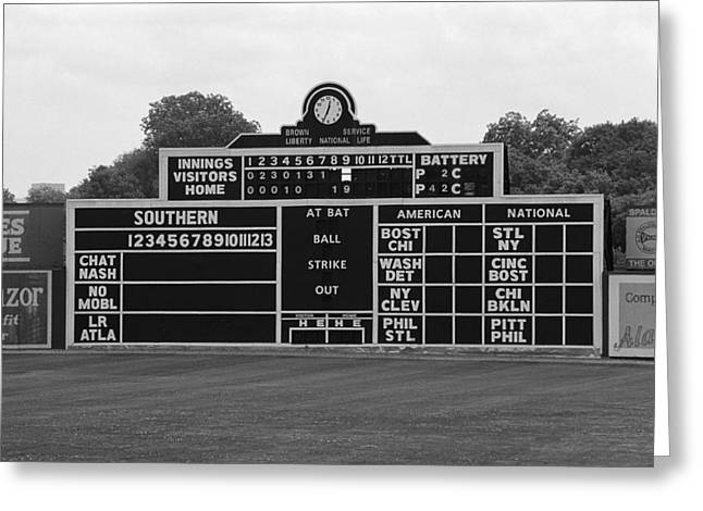 Negro League Greeting Cards - Vintage Baseball Scoreboard Greeting Card by Frank Romeo