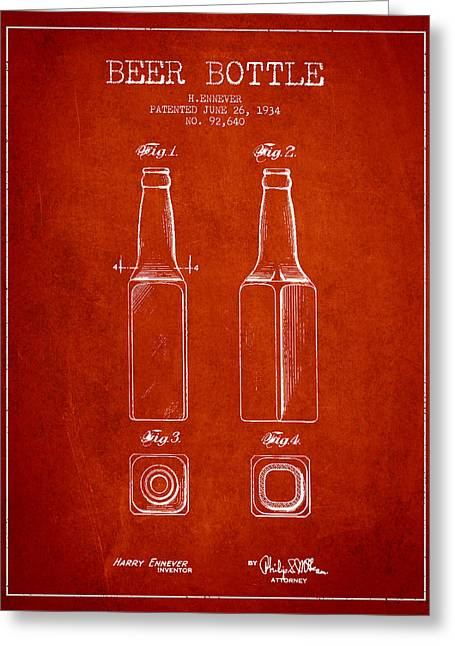 Glass Bottle Greeting Cards - Vintage Beer Bottle Patent Drawing from 1934 - Red Greeting Card by Aged Pixel