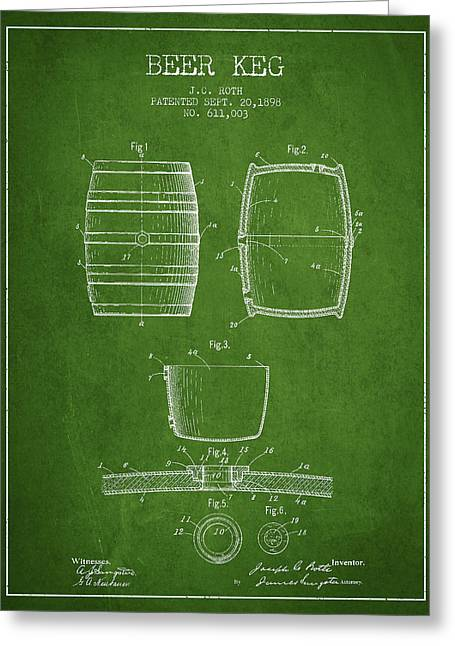 Barrel Greeting Cards - Vintage Beer Keg Patent Drawing from 1898 - Green Greeting Card by Aged Pixel