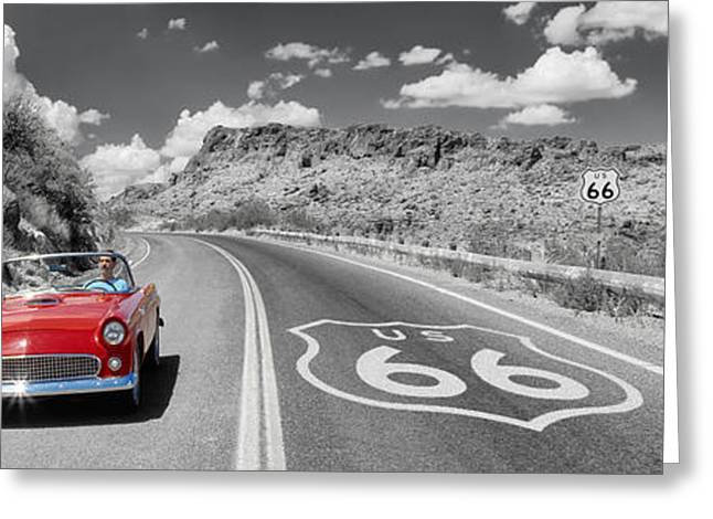 Double Yellow Line Greeting Cards - Vintage Car Moving On The Road, Route Greeting Card by Panoramic Images