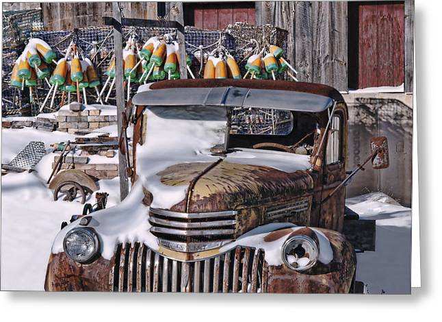 Old Maine Barns Greeting Cards - Vintage Chevrolet Greeting Card by Richard Bean