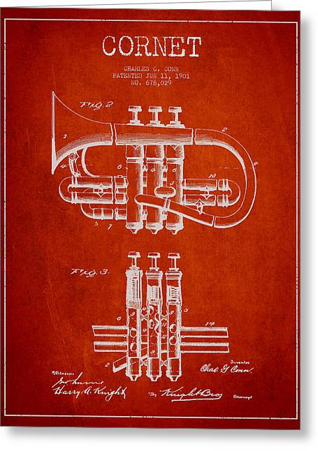 Trumpet Digital Greeting Cards - Cornet Patent Drawing from 1901 - Red Greeting Card by Aged Pixel