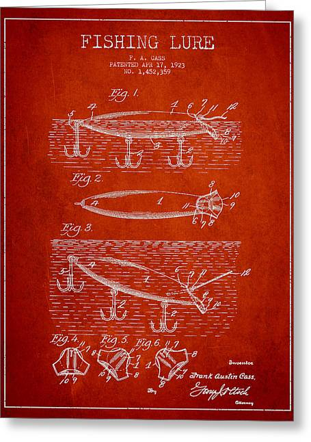 Tackle Digital Greeting Cards - Vintage Fishing Lure Patent Drawing from 1923 Greeting Card by Aged Pixel