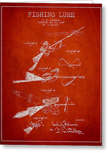 Fishing Greeting Cards - Vintage Fishing Lure Patent Drawing from 1929 Greeting Card by Aged Pixel