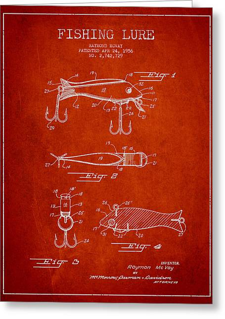 Fishing Greeting Cards - Vintage Fishing Lure Patent Drawing from 1956 Greeting Card by Aged Pixel