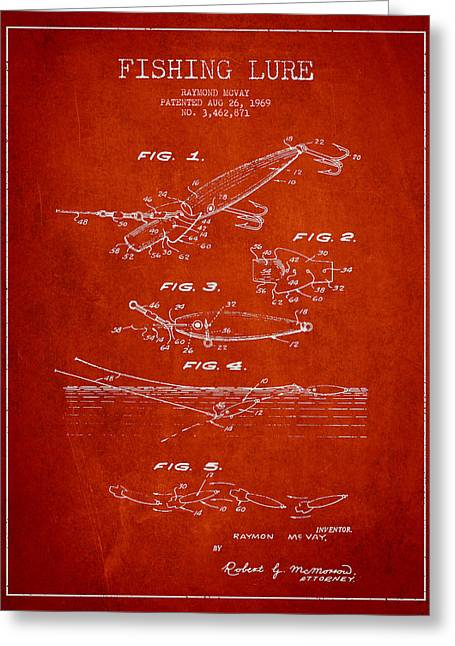 Tackle Digital Greeting Cards - Vintage Fishing Lure Patent Drawing from 1969 Greeting Card by Aged Pixel