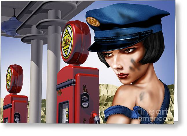 Forecourt Greeting Cards - Vintage Gas Station Greeting Card by Paul Fleet