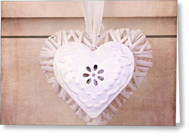 Old Objects Greeting Cards - Vintage hearts with texture Greeting Card by Jane Rix