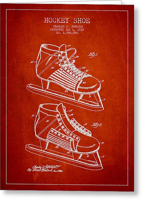Antique Skates Greeting Cards - Vintage Hockey Shoe Patent Drawing From 1935 Greeting Card by Aged Pixel