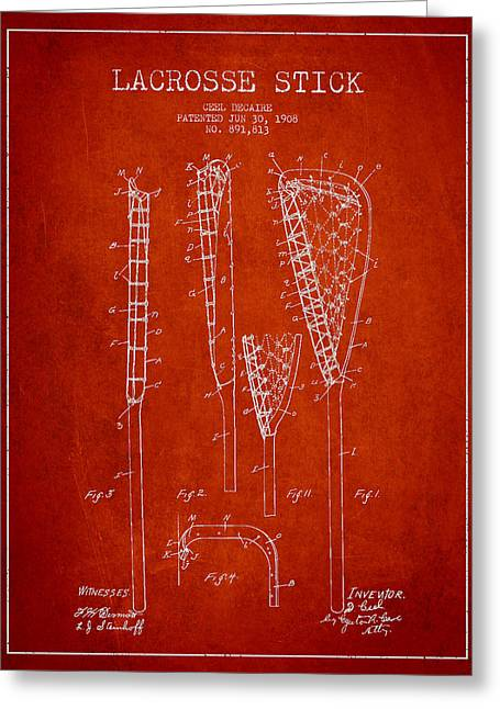 Lacrosse Greeting Cards - Vintage Lacrosse Stick Patent from 1908 Greeting Card by Aged Pixel