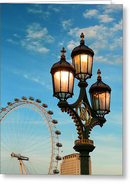Famous Bridge Greeting Cards - Vintage lamp post Greeting Card by Songquan Deng