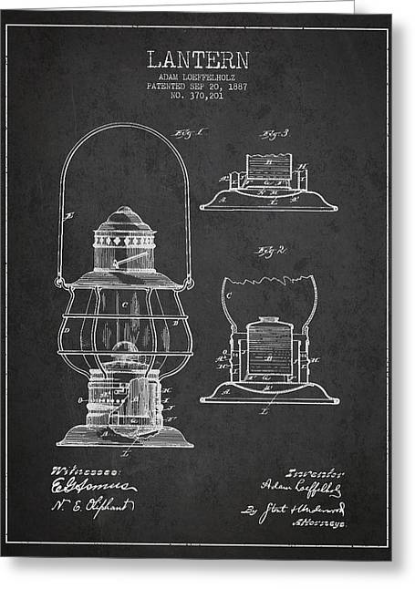 Street Lantern Greeting Cards - Vintage Lantern Patent Drawing From 1887 Greeting Card by Aged Pixel