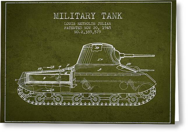 Military Greeting Cards - Vintage Military Tank Patent from 1945 Greeting Card by Aged Pixel