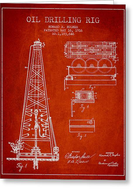 Inventor Greeting Cards - Vintage Oil drilling rig Patent from 1916 Greeting Card by Aged Pixel