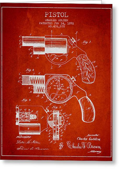 Pistol Greeting Cards - Vintage Pistol Patent from 1892 Greeting Card by Aged Pixel