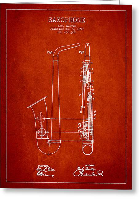 Adolphe Greeting Cards - Saxophone Patent Drawing From 1899 - Red Greeting Card by Aged Pixel