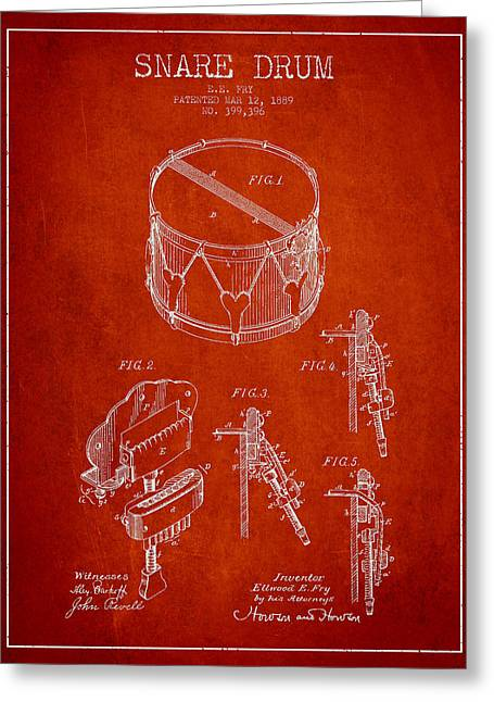 Snare Greeting Cards - Vintage Snare Drum Patent Drawing from 1889 - Red Greeting Card by Aged Pixel