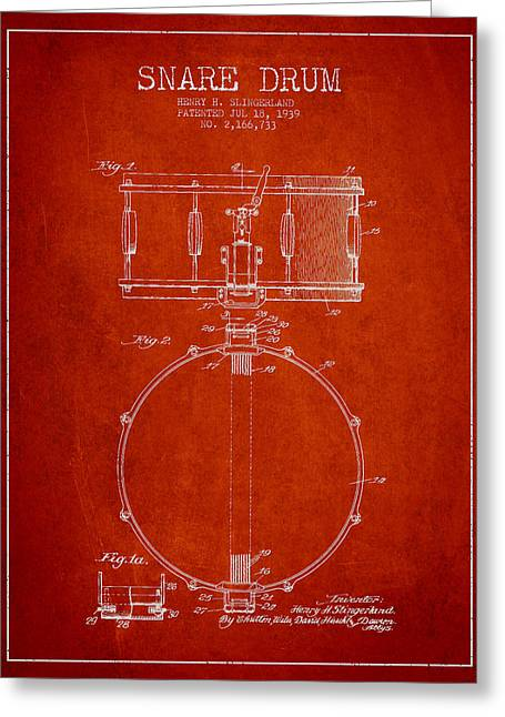 Snare Greeting Cards - Snare Drum Patent Drawing from 1939 - Red Greeting Card by Aged Pixel