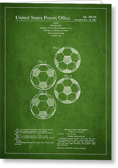 Soccer Ball Greeting Cards - Vintage Soccer Ball Patent Drawing from 1964 Greeting Card by Aged Pixel