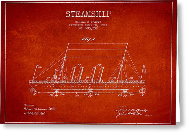 Vintage Steamship Patent From 1911 Greeting Card by Aged Pixel