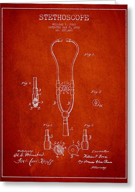 Medical Greeting Cards - Vintage Stethoscope Patent Drawing From 1882 - Red Greeting Card by Aged Pixel