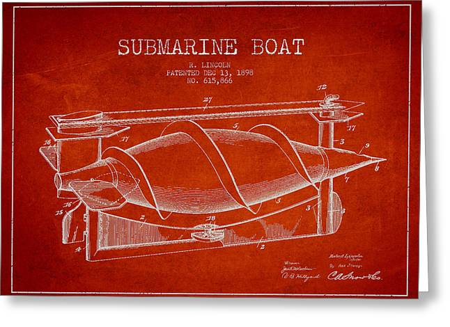 Submarines Greeting Cards - Vintage Submarine Boat patent from 1898 Greeting Card by Aged Pixel