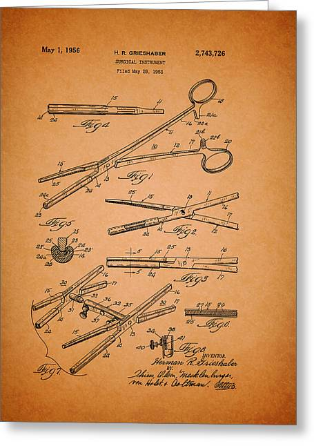 Conferring Greeting Cards - Vintage Surgical Instrument Patent Greeting Card by Mountain Dreams